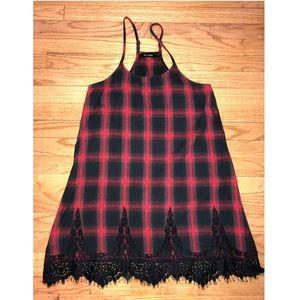Blu Pepper Red & Black Flannel Dress